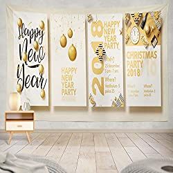 Soopat Tapestry Polyester Fabric Happy Year 2018 Gold Christmas Balls Star Champagne Glass Brochure Wall Hanging Tapestry Decorations Bedroom Living Room Dorm 80X60 inch