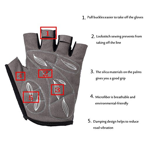 Biking Gloves Half Finger Padded Breathable Sports Biking Gloves for Women(Columbia Blue,Large) by Rovos (Image #3)