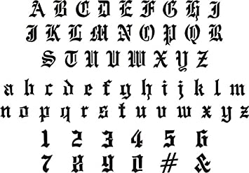Amazon airbrush temporary tattoo stencil 53 old english letters amazon airbrush temporary tattoo stencil 53 old english letters numger 5 wide x 1 tall lower case 25 wide x 5 tall thecheapjerseys Choice Image