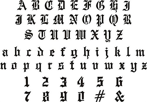 Amazon Airbrush Temporary Tattoo Stencil 53 Old English Letters