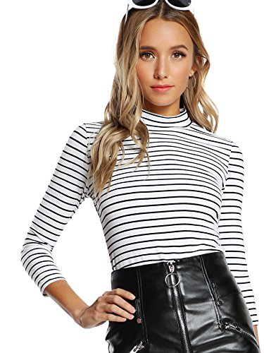 Mock Neck Womens Shirt - Floerns Women's High Neck Long Sleeve Slim Fit Stretch Striped T-Shirts White and Black XL