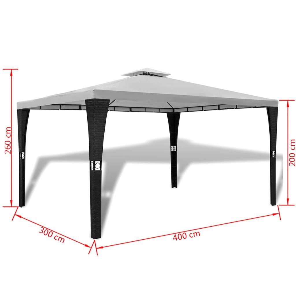 FZYHFA cenador de Polirratán con tejado Blanco Crema 3 x 4 m Carpa ...
