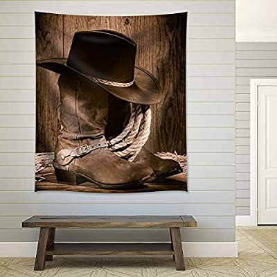 Rustic Cowboy Shoes and Hat, Made With Top Quality, Marvelous Print