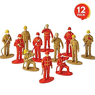 ArtCreativity 2.5 Inch Mini Fireman Figurines for Kids - Set of 12 - Free Standing Firefighter Toys Figures - Birthday Party Favors for Boys and Girls, Goody Bag Fillers, Cake Toppers and Decorations