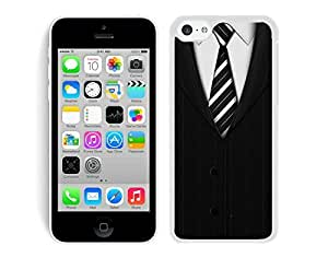 Iphone 5c TPU Case Cool Suit Tie£¬suit and Tie Black Suit Shirt & Tie Pattern Soft Silicone Mobile Phone Protective White Cover