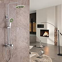 DLBAN Copper Chrome Shower American Style Satin Finish Electroplating Bathroom Hand-held Nozzle Top Spray Hot And Cold Rain Shower