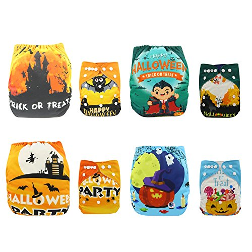 Halloween Diaper (Baby Positioning Printed Design Reuseable Washable Pocket Cloth Diaper 4 Nappies + 4 Inserts (Halloween))