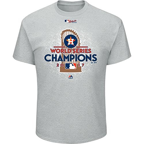 Majestic Mens Astros World Series Champions Locker Room T-Shirt (Grey, 2XL)
