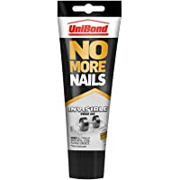 UniBond No More Nails Invisible, Heavy-Duty Clear Glue, Strong Glue for Wood, Ceramic, Metal and More, Instant Grab Mounting Adhesive, 1 x 184g Tube