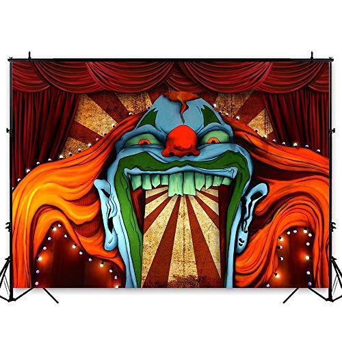 Halloween Clown Room (Funnytree 7x5ft Horror Circus Theme Halloween Backdrop for Photography Giant Evil Clown Hallomas Birthday Party Background Scary Grove Vampire Baby Cake Table Decor Banner Photobooth Studio)