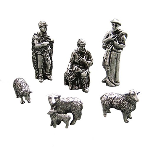 DANFORTH - Shepherd & Sheep Pewter Nativity Set - Handcrafted - Gift Boxed - Made in USA