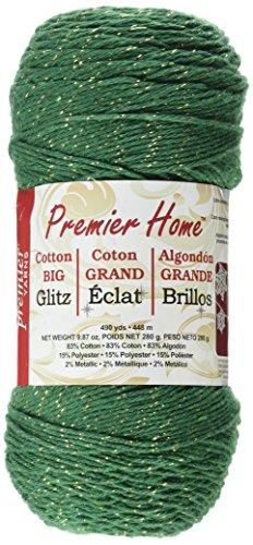 (Premier Yarns Home Cotton Glitz Yarn, Green Gold)