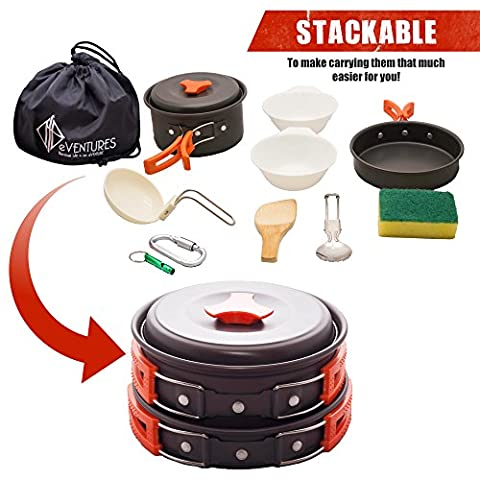 Camping Mess Kit and Cookware Set, Premium Quality Outdoor Cooking Gear, Supplies Mess Kit, Lightweight 11 Pc Set, Compact and Stackable for Easy Storage, BONUS Emergency Whistle by (Outdoor Cooking)