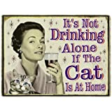Wine Gifts Funny Retro Wine Refrigerator Magnet Not Drinking Alone If the Cat Is Home Birthday Gift for Wine Lovers