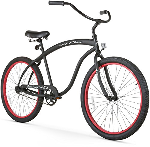 Firmstrong Bruiser Man Single Speed Beach Cruiser Bicycle, 26-Inch, Matte Black/Red - Rims Cruiser Beach