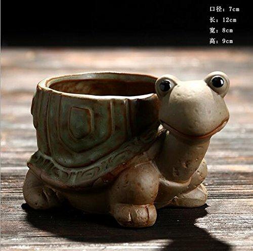 Pot Turtle (Youfui Ceramic Animal Flowerpot Succulent Plants Container Desk Mini Ornaments (Green Turtle))