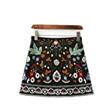 lokp Women Skirts Short Black Embroidered Skirt High Waist Floral Vintage Embroidery Skirts Female
