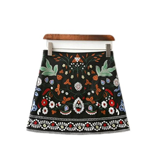Corduroy Embroidered Overalls - lokp Women Skirts Short Black Embroidered Skirt High Waist Floral Vintage Embroidery Skirts Female
