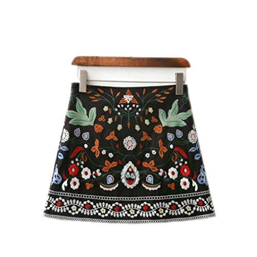 (lokp Women Skirts Short Black Embroidered Skirt High Waist Floral Vintage Embroidery Skirts Female)