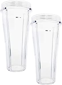 2 Pack Ninja 24oz Replacement Slim High Speed Blender Cup For 592KKUC680 Without Lids Compatible with CT640C CT641 CT680 CT680CO2SS CT680SS CT680SSCCO CT680W CT682P CT800C CT810C CT815A
