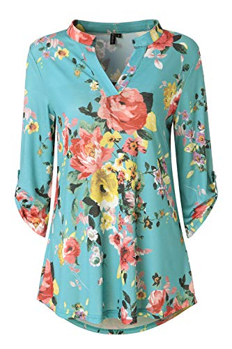 Aqua Top - Zattcas Womens Floral Printed Tunic Shirts 3/4 Roll Sleeve Notch Neck Tunic Top,Aqua,Medium