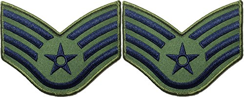 set-2-of-senior-airman-od-olive-drab-and-blue-large-us-air-force-usaf-chevrons-rank-staff-sergeant-m