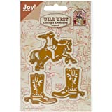 """Ecstasy Crafts Joy! Crafts Cut and Emboss Die, Cowboy and Cowboy Boots, 1.625"""" to 2.5"""""""