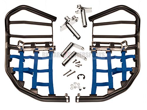 Yamaha YFZ 450R 450X Nerf Bars Foot Pegs Heel Guards Black Bars Blue Nets