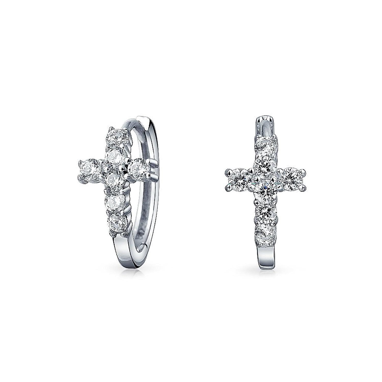 Bling Jewelry 925 Silver Religious Pave CZ Cross Huggie Hoop Earrings