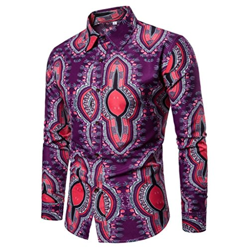 Men Blouses, Beautyfine Slim Cool Tribe Printed Long Sleeve Button Tuxedo Shirts