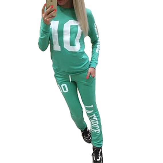 Inlefen Chándal de Las Mujeres Jogging Traje Suave Cómodo Pantalones de Manga Larga Pullover 2 Piezas de Ropa Set Sport Sweatshirt Pantalones de ...