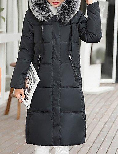 ZHUDJ Casual Simple 4XL Daily Down Solid Gray Coat Long Z1qxZwrU