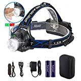 Reiled Super Bright LED Headlamp with PIR Sensor Switch — ON/Off by Gesture, Rechargeable, Adjustable, Waterproof, Lightweight Wearing Comfortable for Cycling, Camping, Hiking, Fishing, Hunting, etc