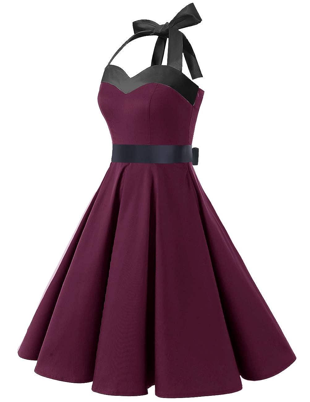 DRESSTELLS 50s Retro Halter Rockabilly Bridesmaid Audrey Dress Cocktail Dress