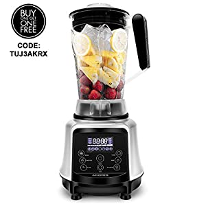 Aimores Commercial Blender for Shakes and Smoothies, Food Processor, 3-in-1 75oz High Speed Programmed Juice Blender, Smoothie Maker for Ice, 32,000RPM, with Tamper & Recipe, ETL/FDA (Silver)
