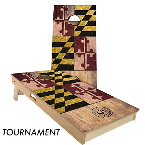 (Rustic State Flag 4 by 2 feet Regulation Size Cornhole Boards Sets; 100% USA MADE | Slick Woody's Cornhole Company (Full Color Marylan) )