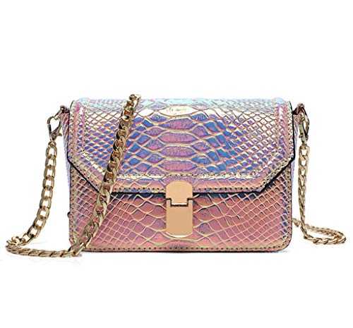 Remeehi Hologram Snake Skin Leather Shoulder Bag Crossbody Bag with Chain (Hologram Red)