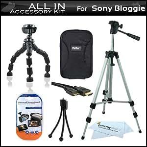 """All In Accessories Bundle Kit For Sony Bloggie Duo MHS-FS2 Video Camera Includes Hard Case + 50"""" Tripod w/ Case + Flexible Tripod + Mni HDMI Cable + LCD Screen Protectors + Mini Tabletop Tripod + More"""