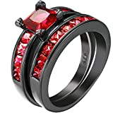 Women 2 PCS Princess Cut Red Ruby Zirconia CZ Black Gold Plated Vintage Ring Engagement Wedding Band Set 7