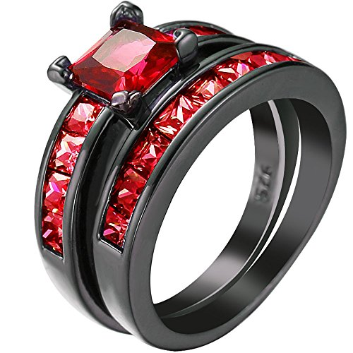 Women 2 PCS Princess Cut Red Ruby Zirconia CZ Black Gold Plated Vintage Ring Engagement Wedding Band Set 6 (Ruby Vintage Bands)