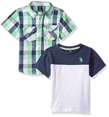 U.S. Polo Assn. Little Boys' Short Sleeve Woven Shirt and T-Shirt Set, Green Plaid Woven Color Block El Multi Plaid, 7 by U.S. Polo Assn. (Image #1)