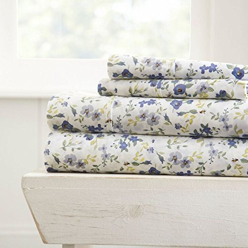 Becky Cameron 3 Piece Sheet Set Blossoms Patterned, Twin, Light ()