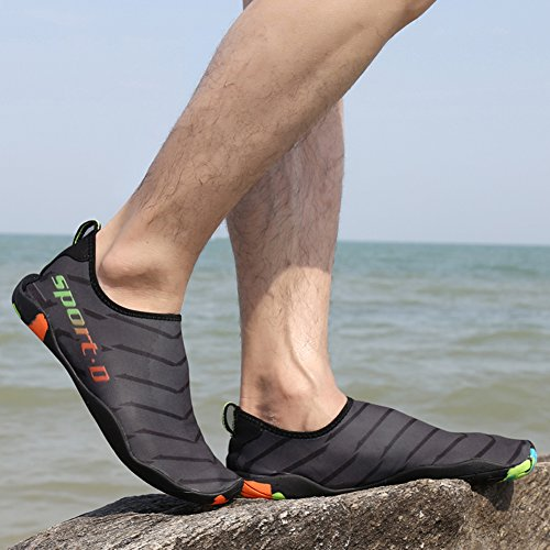 Gaatpot Barefoot Water Shoes Quick Dry Beach Swimming Aqua Surf Diving Shoes Skin Socks For Unisex Grey 3bxIlj52PK