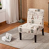 Roundhill Furniture AC131 Goodale Script Linen Print Fabric Armless Contemporary Oversize Accent Chair