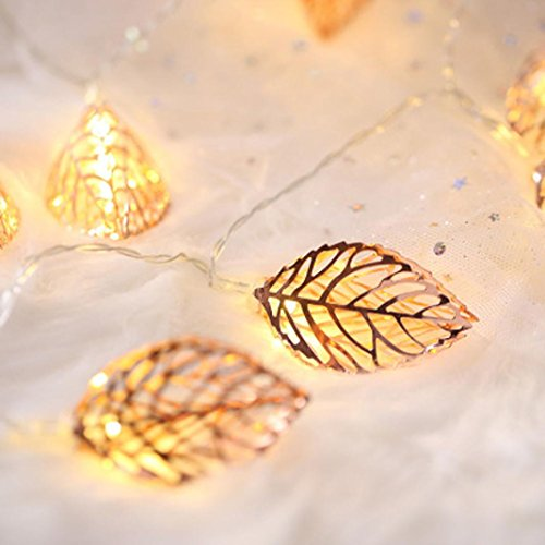 2M 10 Tress Leaves LED String Light, Dirance Indoor Outdoor Fairy Iron Night Light Lamp Festival Party Wedding Girl Bedroom Home Decor (Gold) by Dirance (Image #4)