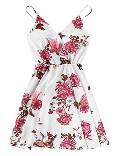 Shein Womens Casual Boho Summer V Neck Floral Print Cami Dress White 1 Medium