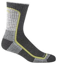 Darn Tough Vermont Men\'s Merion Wool Micro-Crew Light Cushion Hiking Socks, Charcoal/Lime, Large