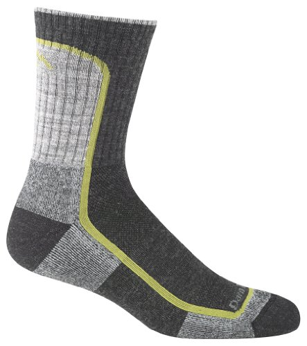 Darn Tough Vermont Men's Merion Wool Micro-Crew Light Cushion Hiking Socks, Charcoal/Lime, Large
