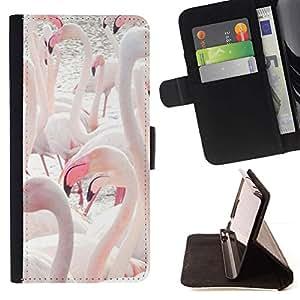 Momo Phone Case / Flip Funda de Cuero Case Cover - Flamingos lago de agua Aves Pico - HTC One M9