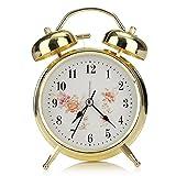 Jeteven 4'' Vintage Twin Bell Alarm Clock, Non-ticking Quartz Analog Retro Bedside Clock with Loud Alarm and Nightlight (Golden)